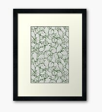 Sleepy House Animal Pattern - green and silver Framed Print