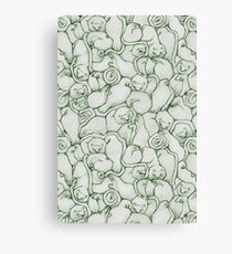 Sleepy House Animal Pattern - green and silver Canvas Print