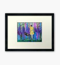Spring Walk Abstract Landscape colorful vibrant Framed Print