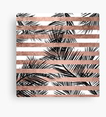 Trendy tropical palm trees chic rose gold stripes Canvas Print