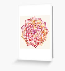 Watercolor Medallion in Sunset Colors Greeting Card