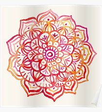 Watercolor Medallion in Sunset Colors Poster
