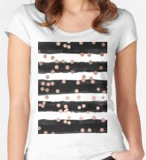 Girly rose gold confetti black watercolor stripes Women's Fitted Scoop T-Shirt