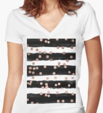 Girly Rose Gold Konfetti schwarz Aquarell Streifen Shirt mit V-Ausschnitt