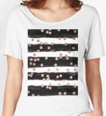 Girly rose gold confetti black watercolor stripes Women's Relaxed Fit T-Shirt