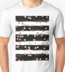 Girly rose gold confetti black watercolor stripes Unisex T-Shirt