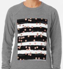 Girly Rose Gold Konfetti schwarz Aquarell Streifen Leichtes Sweatshirt