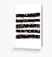Girly rose gold confetti black watercolor stripes Greeting Card