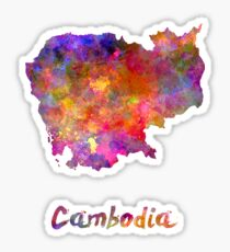 Cambodia in watercolor Sticker