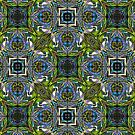 Blue Scarab Pattern in vibrant green, electric blue and violet by Warren Paul Harris