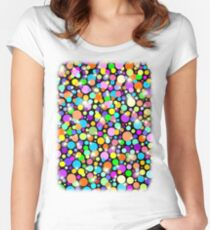 Polka Dots Psychedelic Colors Women's Fitted Scoop T-Shirt