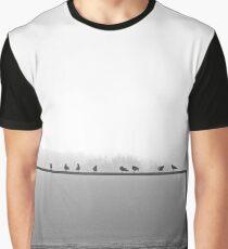 Birds On Goal Post Graphic T-Shirt