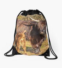 Highland Mother and Calf Drawstring Bag