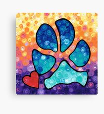 Puppy Love - Colorful Dog Paw Art By Sharon Cummings Canvas Print