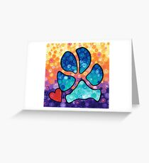 Puppy Love - Colorful Dog Paw Art By Sharon Cummings Greeting Card