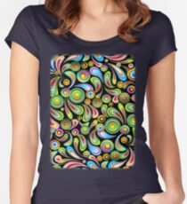 Drops Psychedelic Abstract Pattern   Women's Fitted Scoop T-Shirt