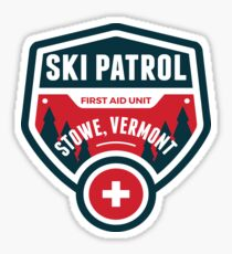 SKIING STOWE VERMONT Skiing Ski Patrol Mountain Art Sticker