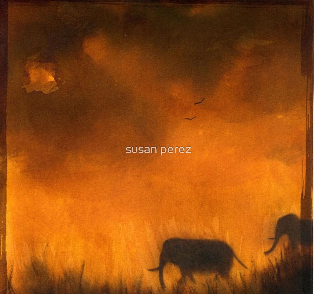 Sonnenuntergang mit Elefanten von susanPerez