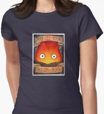Howl's Moving Castle Illustration - CALCIFER (original)  Women's Fitted T-Shirt
