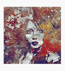 Farewell, Mona Lisa: Autumn - flower girl graffiti portrait Photographic Print