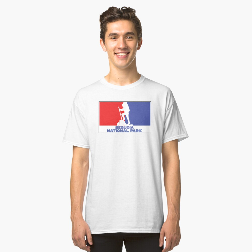 Hike Hiking SEQUOIA CALIFORNIA National Park Maine Red White Blue Classic T-Shirt Front