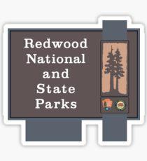 Pegatina Muestra de parques nacionales y estatales de Redwood, California, EE. UU.