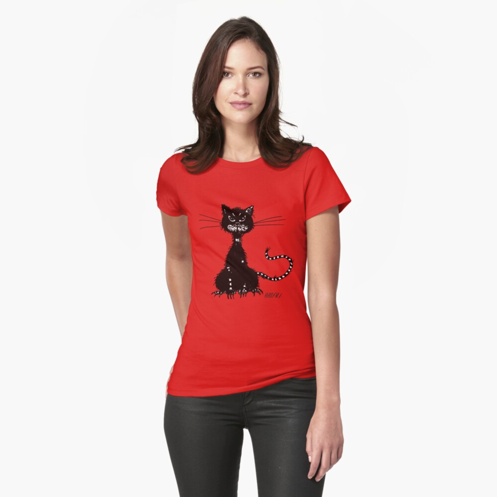 Red Ragged Evil Black Cat Fitted T-Shirt