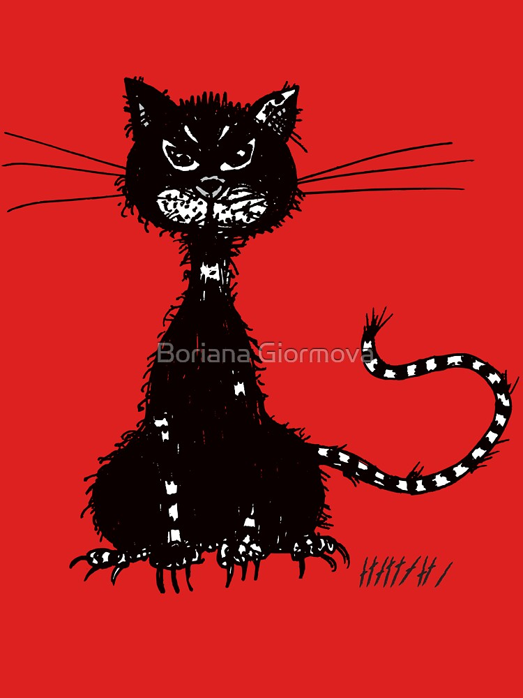 Red Ragged Evil Black Cat by azzza