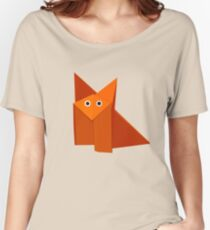 Cute Origami Fox Yellow Women's Relaxed Fit T-Shirt