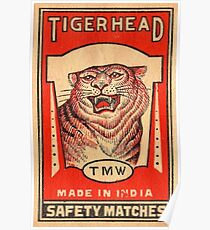 Tiger Head Safety Matches - India Poster