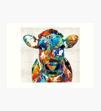 Colorful Cow Art - Mootown - By Sharon Cummings Art Print