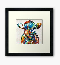Colorful Cow Art - Mootown - By Sharon Cummings Framed Print