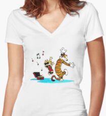 Calvin and Hobbes Music  Women's Fitted V-Neck T-Shirt