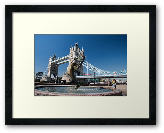 Dolphin and Girl statue at Tower Bridge, London, England. by Rob  Ford