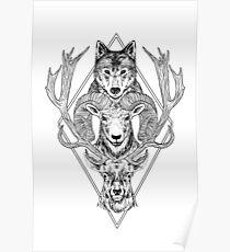 Wolf Ram Hart Poster