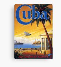 Visit Cuba Pan American Airlines Vintage Travel Poster Canvas Print