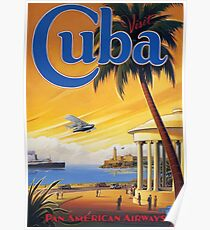 Visit Cuba Pan American Airlines Vintage Travel Poster Poster