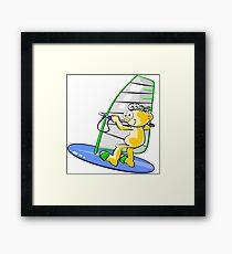 Cartoon windsurfer Framed Print