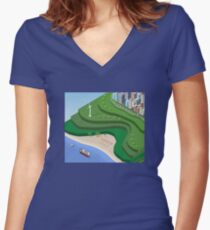 Beach Sea isometric  Women's Fitted V-Neck T-Shirt