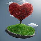 Heart tree on suspended rock by jordygraph