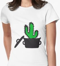 Eat Well saucepan cook restaurant desert cactus survive survival hungry Womens Fitted T-Shirt