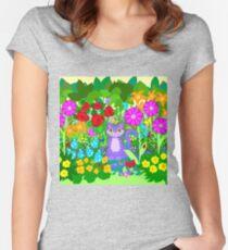 Cat in the Garden Butterflies Flowers Ladybugs Women's Fitted Scoop T-Shirt