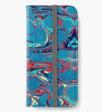 Psychedelic Blue Red Marbled Paper iPhone Wallet/Case/Skin