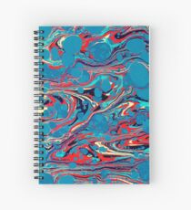 Psychedelic Blue Red Marbled Paper Spiral Notebook