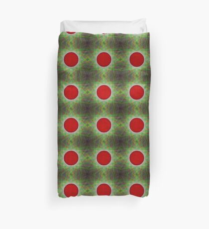 Red Button Planet Duvet Cover