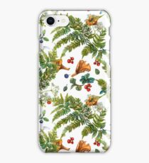 Forest ferns, berries and mushrooms iPhone Case/Skin