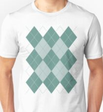 Argyle Diamonds 9 Beryl Green on White Unisex T-Shirt