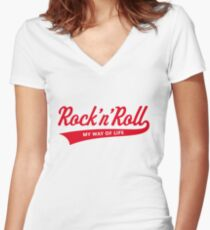 Rock 'n' Roll – My Way Of Life (Red) Women's Fitted V-Neck T-Shirt
