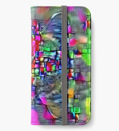 Artificial neural style Cubism mirror cat iPhone Wallet