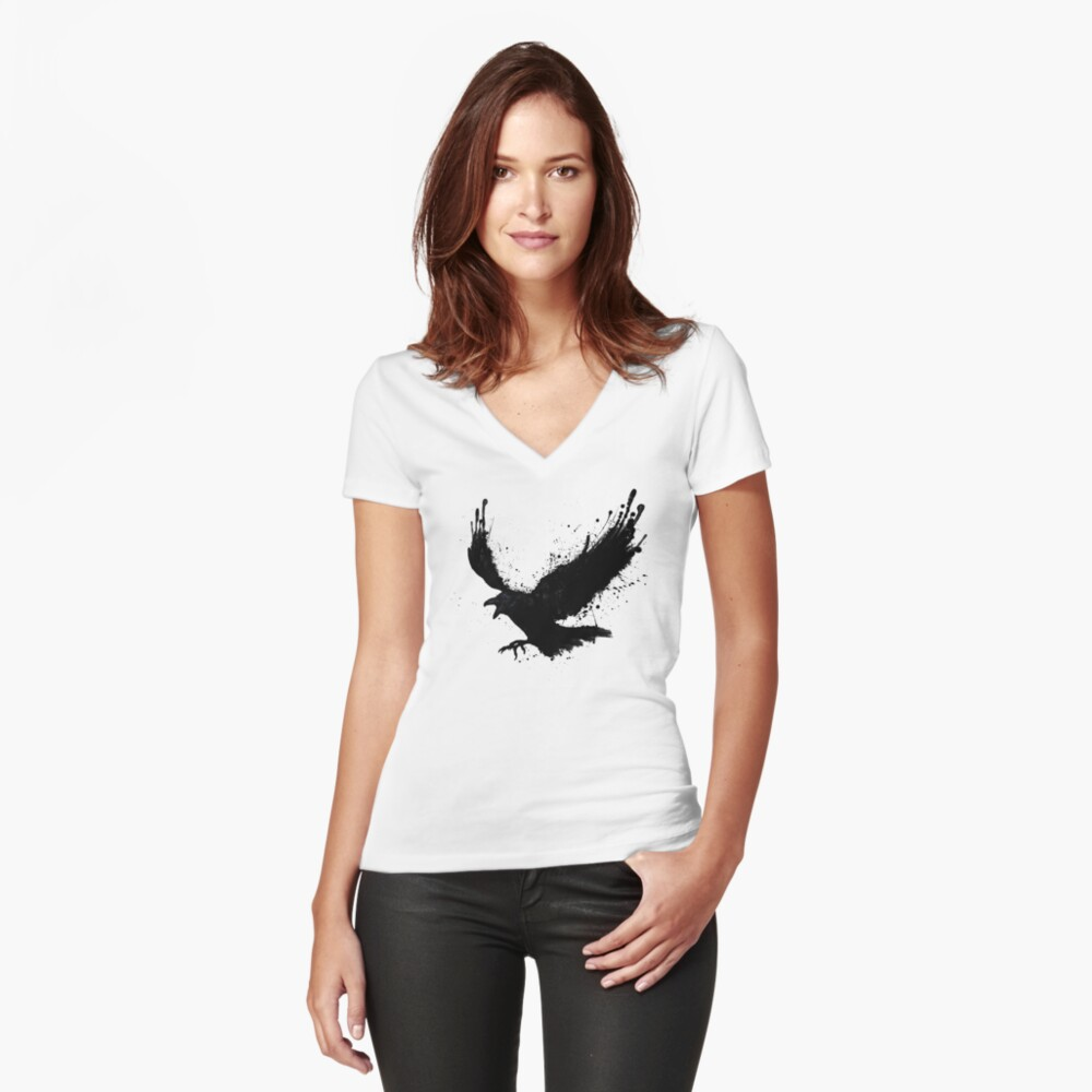Raven Fitted V-Neck T-Shirt